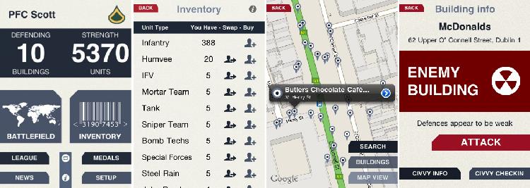 foursqwar - turf war GPS citygame
